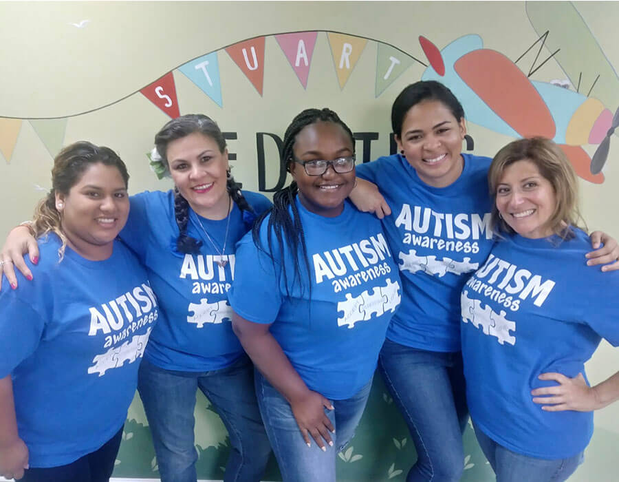 Our amazing staff raising awareness for autism at Stuart Pediatric Dentistry