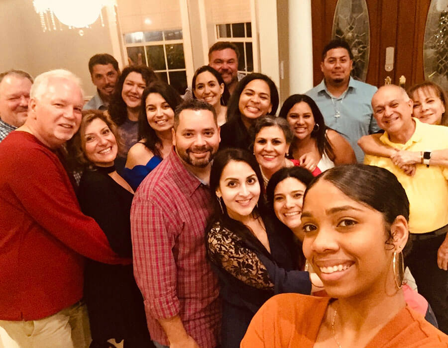 The Stuart Pediatric dentistry team and their families at a Christmas Dinner